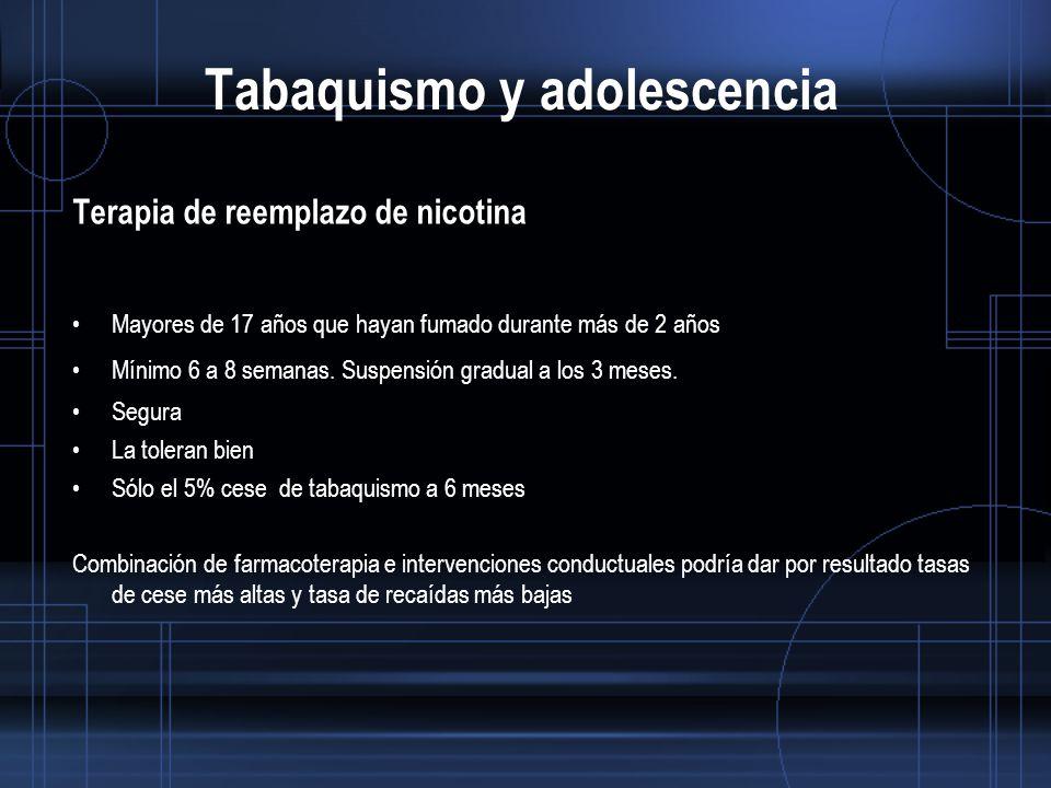 Tabaquismo y adolescencia Terapia de reemplazo de nicotina Mayores de 17 años que hayan fumado durante más de 2 años Mínimo 6 a 8 semanas.
