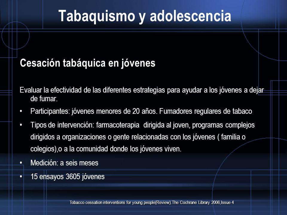 Tabaquismo y adolescencia Cesación tabáquica en jóvenes Evaluar la efectividad de las diferentes estrategias para ayudar a los jóvenes a dejar de fumar.