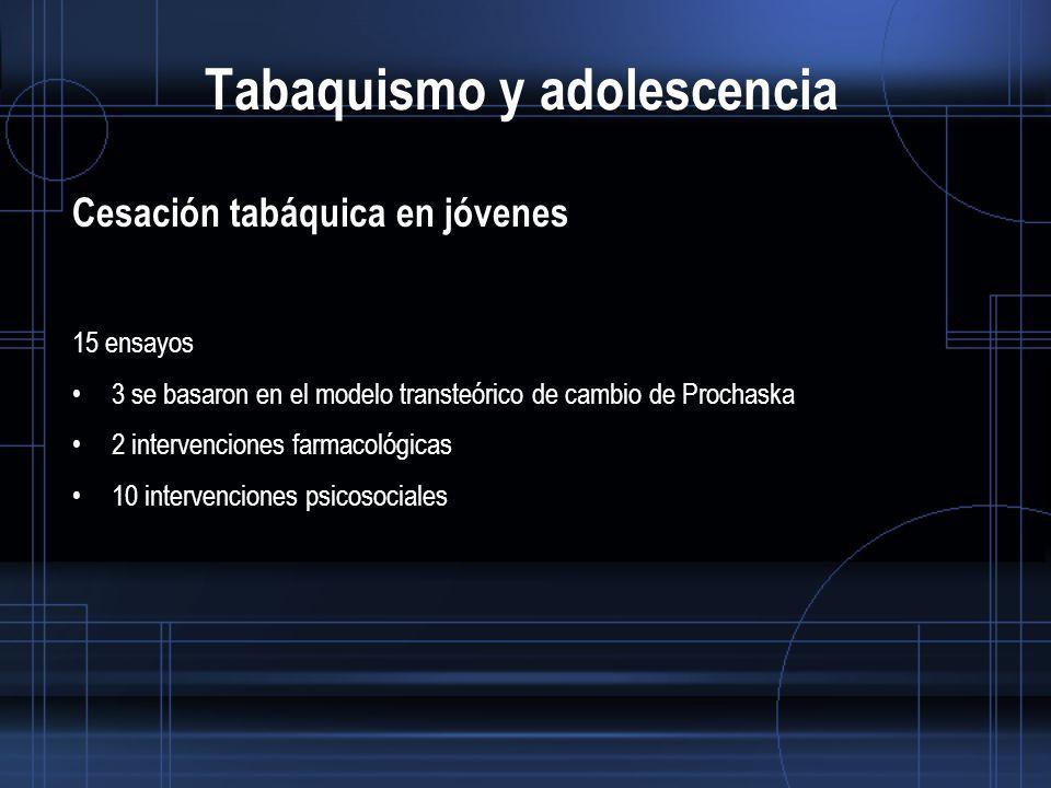 Tabaquismo y adolescencia Cesación tabáquica en jóvenes 15 ensayos 3 se basaron en el modelo transteórico de cambio de Prochaska 2 intervenciones farmacológicas 10 intervenciones psicosociales