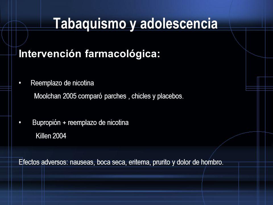 Tabaquismo y adolescencia Intervención farmacológica: Reemplazo de nicotina Moolchan 2005 comparó parches, chicles y placebos.