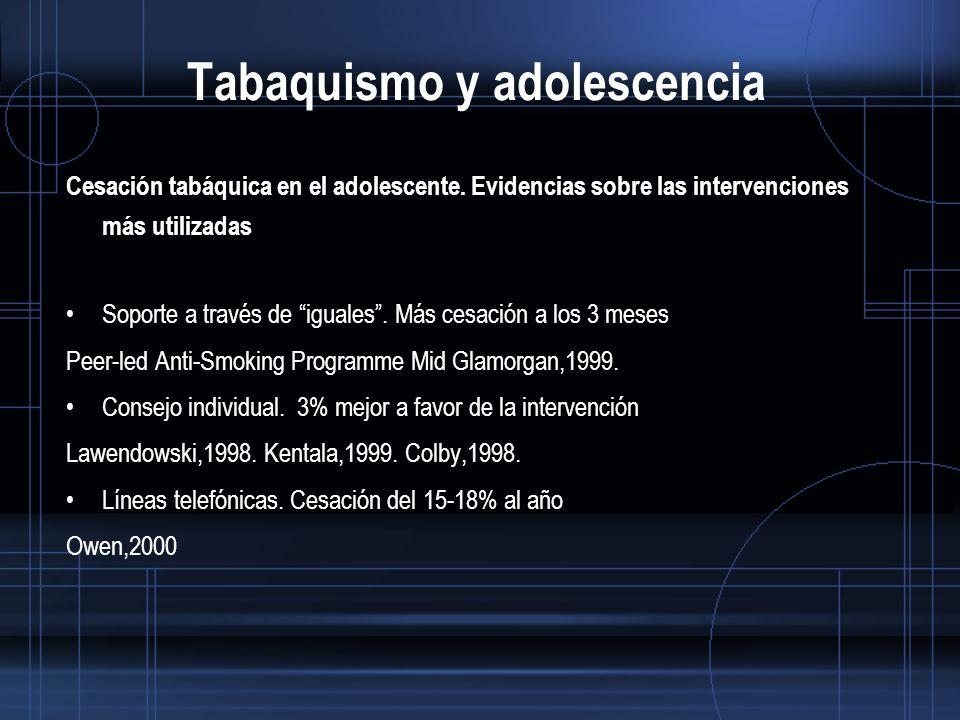 Tabaquismo y adolescencia Cesación tabáquica en el adolescente.