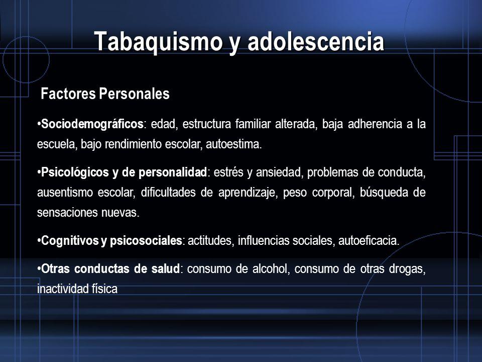 Tabaquismo y adolescencia Factores Personales Sociodemográficos : edad, estructura familiar alterada, baja adherencia a la escuela, bajo rendimiento escolar, autoestima.
