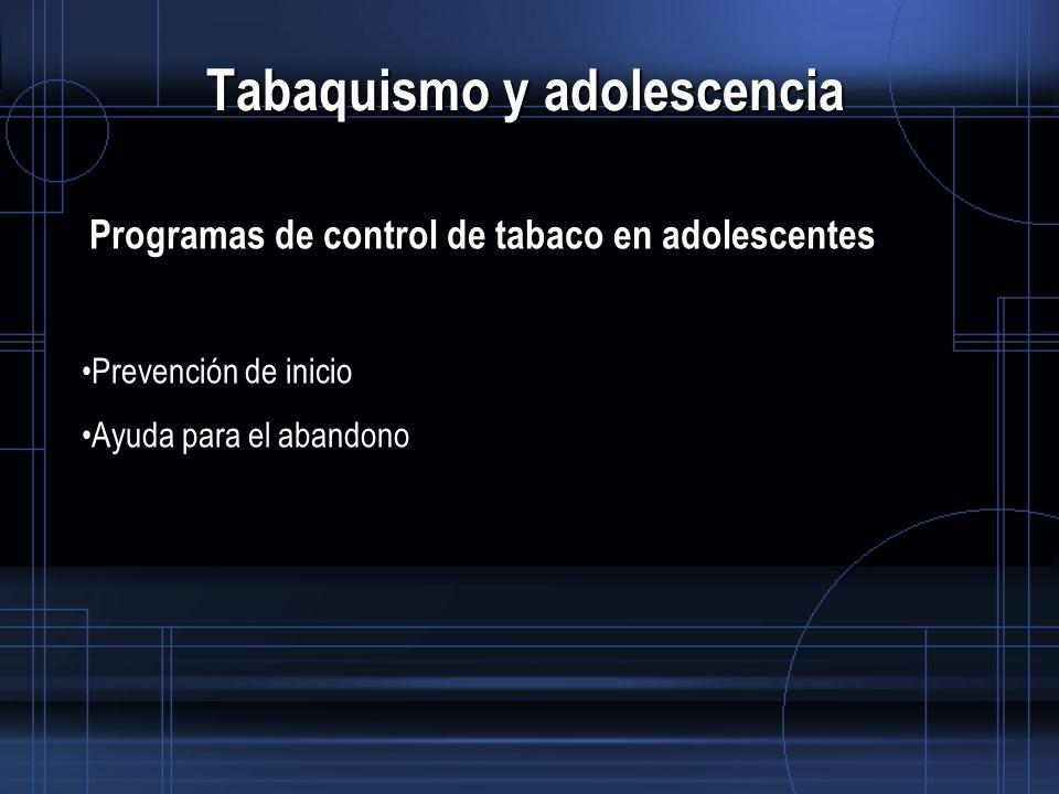 Tabaquismo y adolescencia Programas de control de tabaco en adolescentes Prevención de inicio Ayuda para el abandono