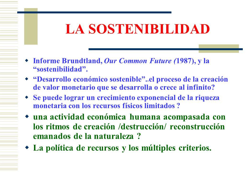 LA SOSTENIBILIDAD  Informe Brundtland, Our Common Future (1987), y la sostenibilidad .