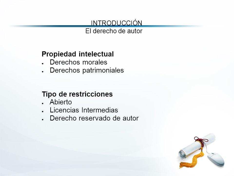 Propiedad intelectual ● Derechos morales ● Derechos patrimoniales Tipo de restricciones ● Abierto ● Licencias Intermedias ● Derecho reservado de autor INTRODUCCIÓN El derecho de autor