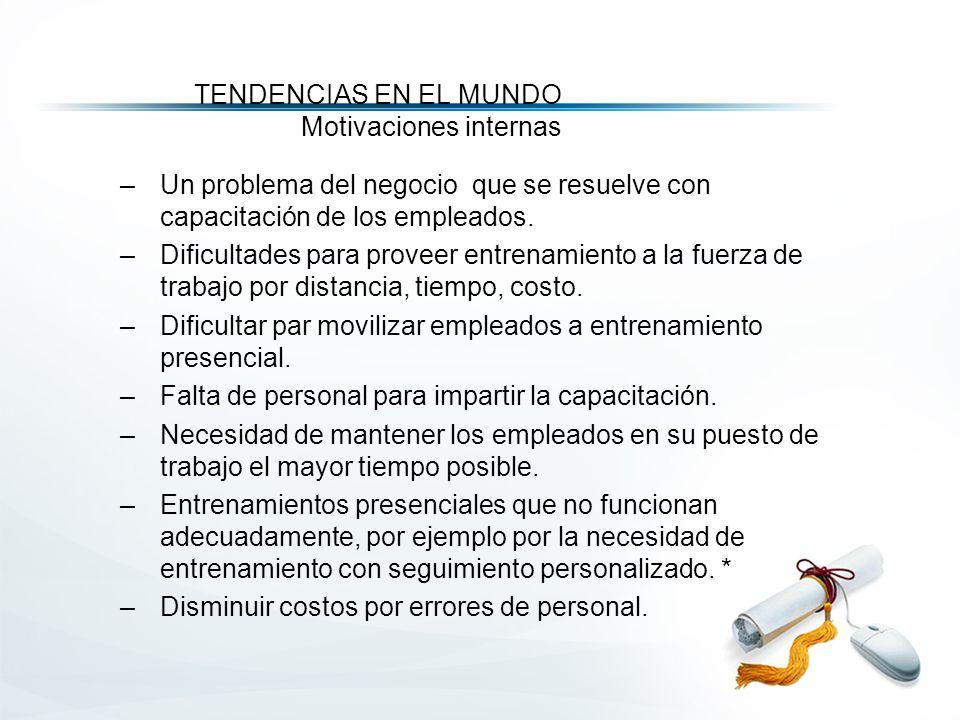 TENDENCIAS EN EL MUNDO Motivaciones internas –Un problema del negocio que se resuelve con capacitación de los empleados.