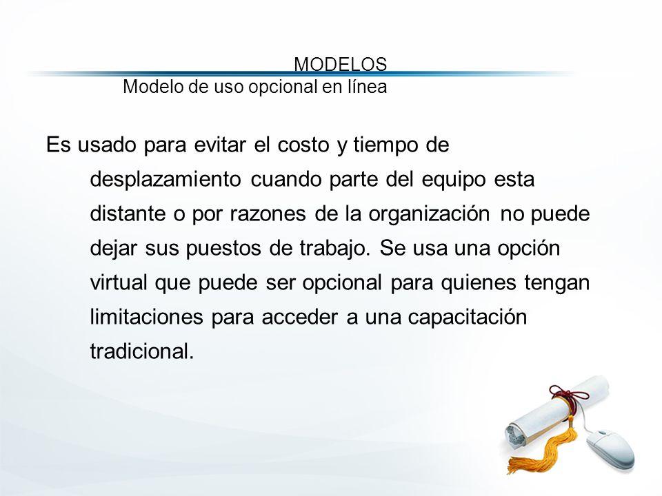 MODELOS Modelo de uso opcional en línea Es usado para evitar el costo y tiempo de desplazamiento cuando parte del equipo esta distante o por razones de la organización no puede dejar sus puestos de trabajo.