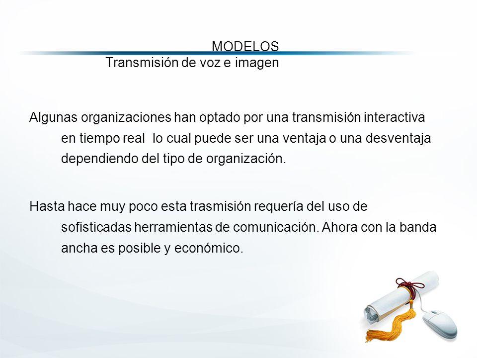 MODELOS Transmisión de voz e imagen Algunas organizaciones han optado por una transmisión interactiva en tiempo real lo cual puede ser una ventaja o una desventaja dependiendo del tipo de organización.