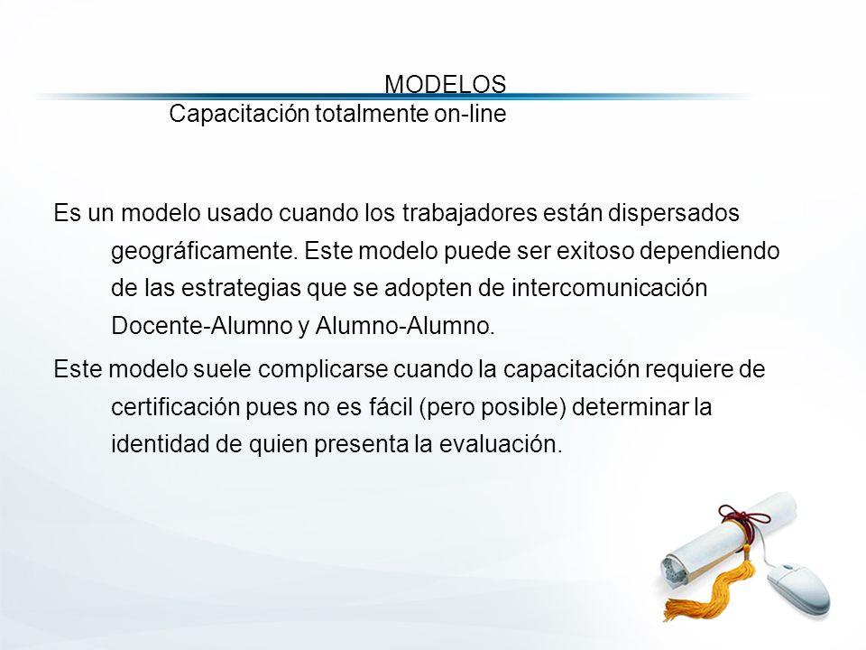 MODELOS Capacitación totalmente on-line Es un modelo usado cuando los trabajadores están dispersados geográficamente.