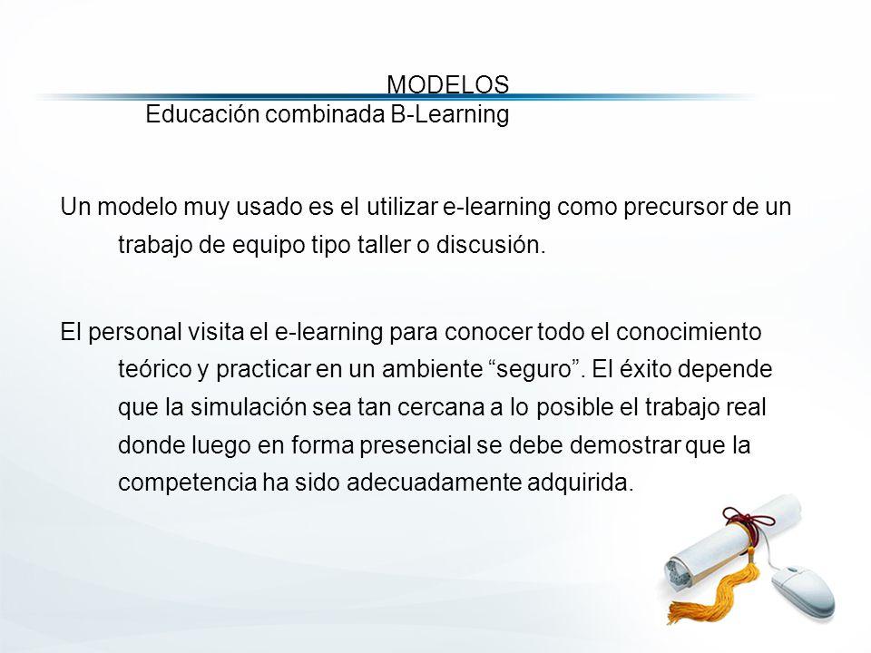 MODELOS Educación combinada B-Learning Un modelo muy usado es el utilizar e-learning como precursor de un trabajo de equipo tipo taller o discusión.