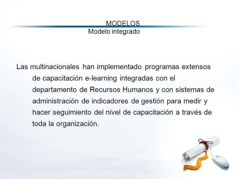 MODELOS Modelo integrado Las multinacionales han implementado programas extensos de capacitación e-learning integradas con el departamento de Recursos Humanos y con sistemas de administración de indicadores de gestión para medir y hacer seguimiento del nivel de capacitación a través de toda la organización.