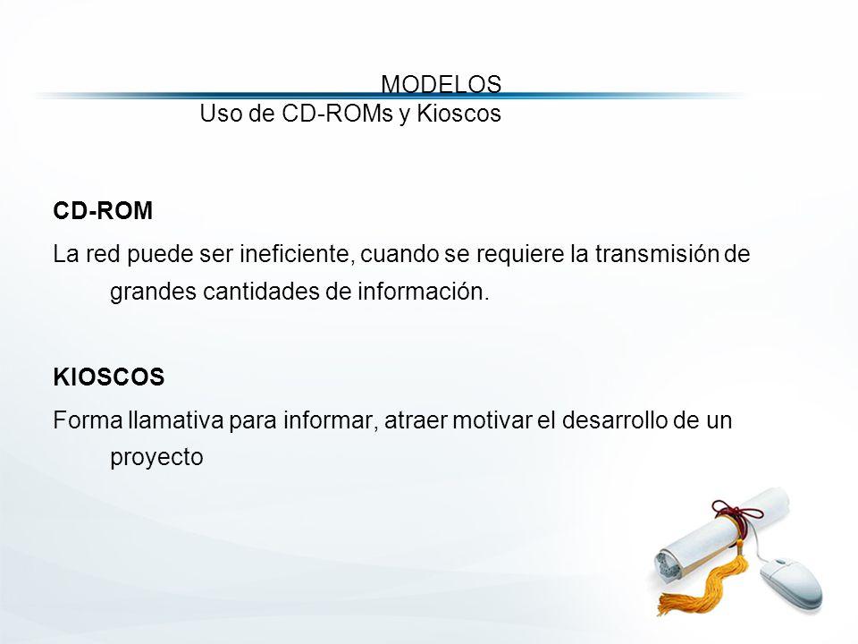 MODELOS Uso de CD-ROMs y Kioscos CD-ROM La red puede ser ineficiente, cuando se requiere la transmisión de grandes cantidades de información.