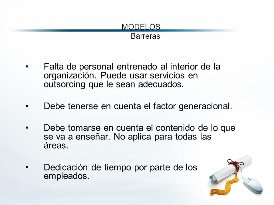 MODELOS Barreras Falta de personal entrenado al interior de la organización.