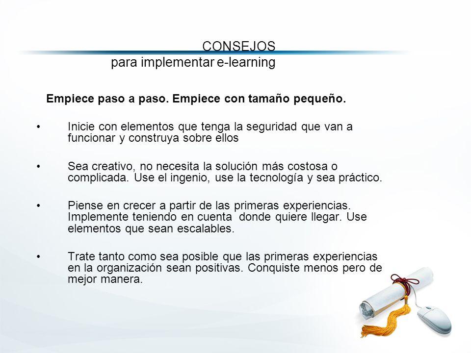 CONSEJOS para implementar e-learning Empiece paso a paso.
