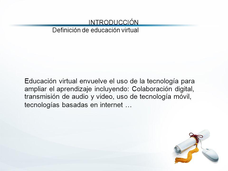 Educación virtual envuelve el uso de la tecnología para ampliar el aprendizaje incluyendo: Colaboración digital, transmisión de audio y video, uso de tecnología móvil, tecnologías basadas en internet … INTRODUCCIÓN Definición de educación virtual