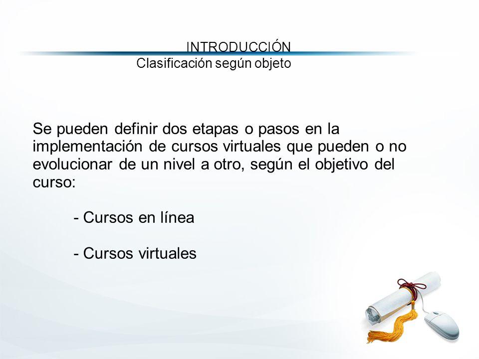 Se pueden definir dos etapas o pasos en la implementación de cursos virtuales que pueden o no evolucionar de un nivel a otro, según el objetivo del curso: - Cursos en línea - Cursos virtuales INTRODUCCIÓN Clasificación según objeto