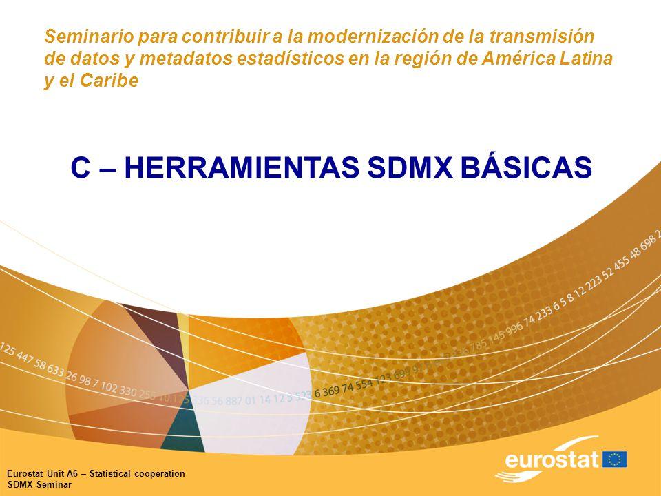 Eurostat Unit A6 – Statistical cooperation SDMX Seminar Seminario para contribuir a la modernización de la transmisión de datos y metadatos estadísticos en la región de América Latina y el Caribe C – HERRAMIENTAS SDMX BÁSICAS