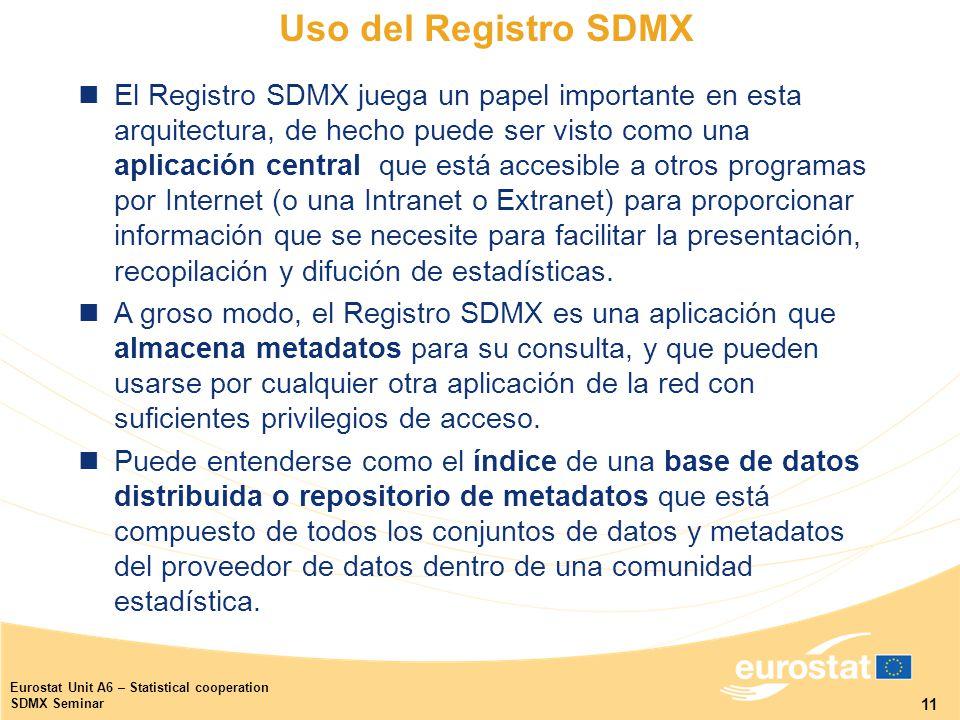 11 Eurostat Unit A6 – Statistical cooperation SDMX Seminar El Registro SDMX juega un papel importante en esta arquitectura, de hecho puede ser visto como una aplicación central que está accesible a otros programas por Internet (o una Intranet o Extranet) para proporcionar información que se necesite para facilitar la presentación, recopilación y difución de estadísticas.