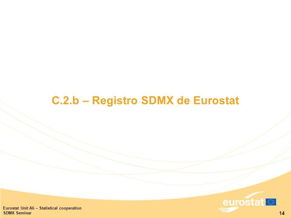 14 Eurostat Unit A6 – Statistical cooperation SDMX Seminar C.2.b – Registro SDMX de Eurostat