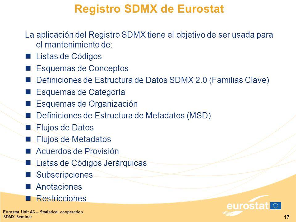 17 Eurostat Unit A6 – Statistical cooperation SDMX Seminar Registro SDMX de Eurostat La aplicación del Registro SDMX tiene el objetivo de ser usada para el mantenimiento de: Listas de Códigos Esquemas de Conceptos Definiciones de Estructura de Datos SDMX 2.0 (Familias Clave) Esquemas de Categoría Esquemas de Organización Definiciones de Estructura de Metadatos (MSD) Flujos de Datos Flujos de Metadatos Acuerdos de Provisión Listas de Códigos Jerárquicas Subscripciones Anotaciones Restricciones