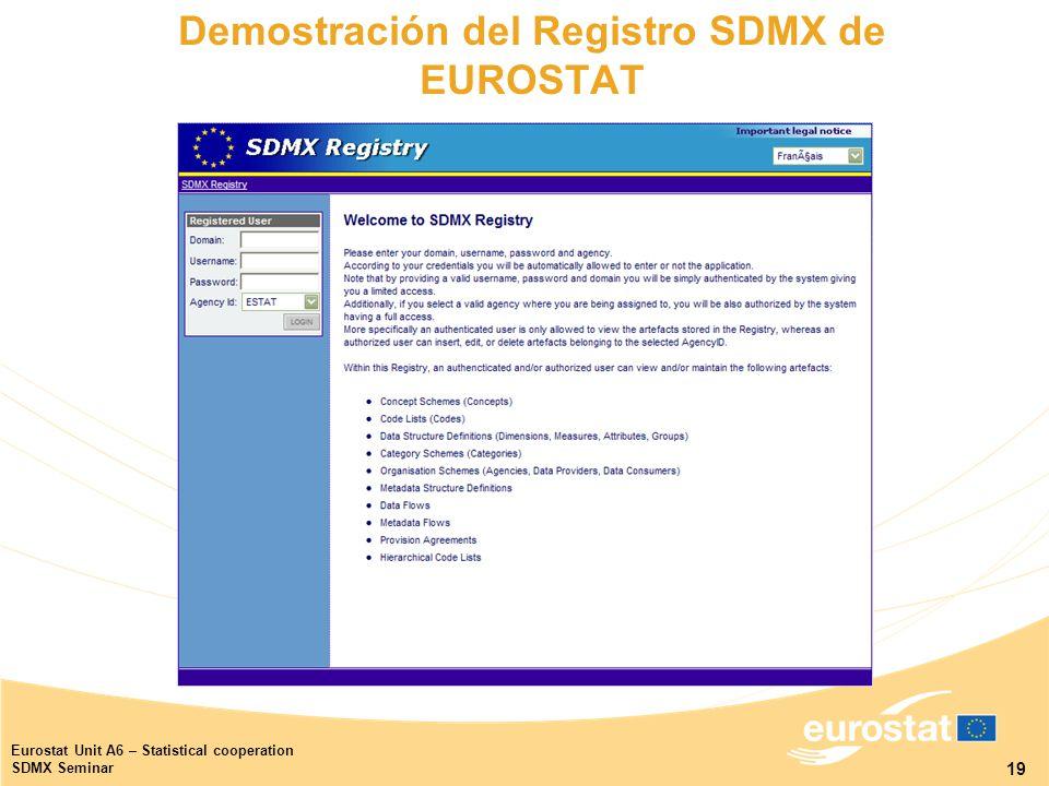 19 Eurostat Unit A6 – Statistical cooperation SDMX Seminar Demostración del Registro SDMX de EUROSTAT