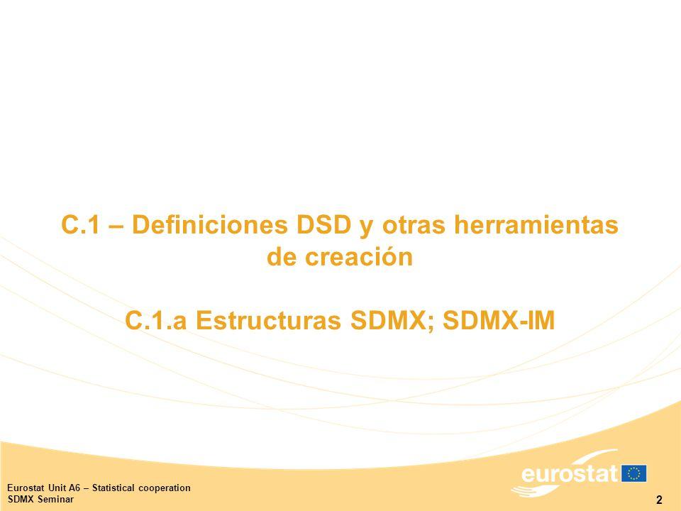 2 Eurostat Unit A6 – Statistical cooperation SDMX Seminar C.1 – Definiciones DSD y otras herramientas de creación C.1.a Estructuras SDMX; SDMX-IM