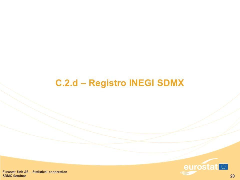20 Eurostat Unit A6 – Statistical cooperation SDMX Seminar C.2.d – Registro INEGI SDMX