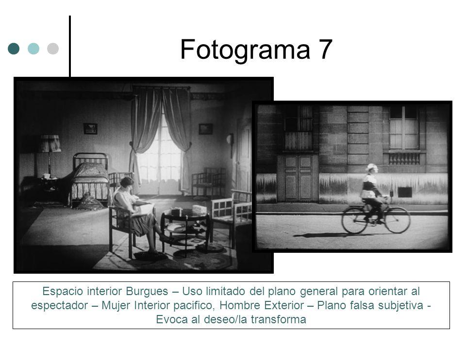 Fotograma 7 Espacio interior Burgues – Uso limitado del plano general para orientar al espectador – Mujer Interior pacifico, Hombre Exterior – Plano falsa subjetiva - Evoca al deseo/la transforma