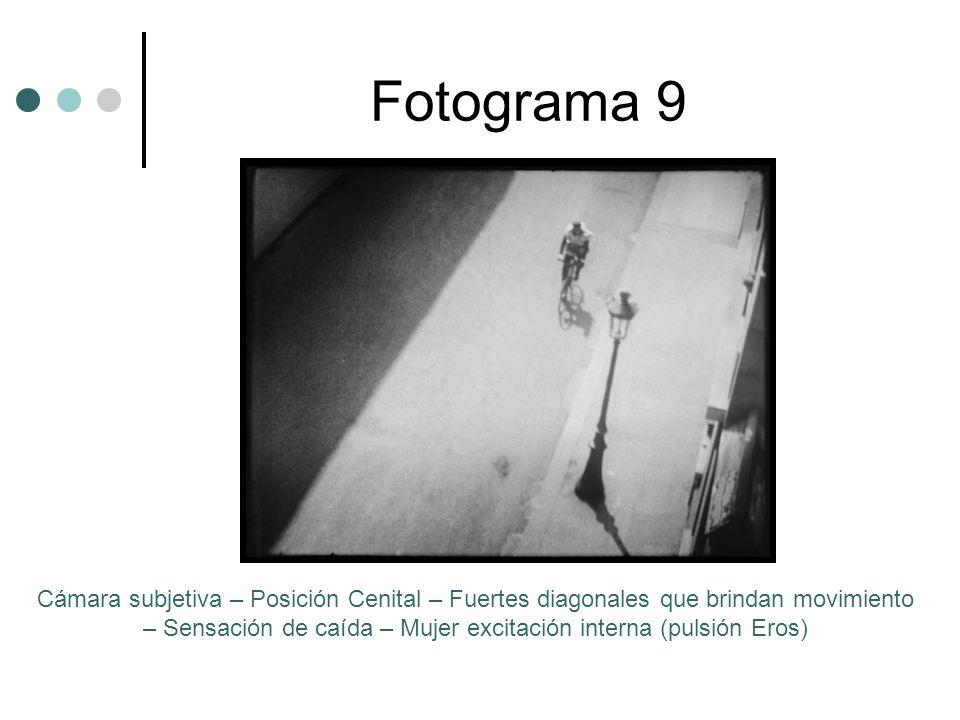 Fotograma 9 Cámara subjetiva – Posición Cenital – Fuertes diagonales que brindan movimiento – Sensación de caída – Mujer excitación interna (pulsión Eros)
