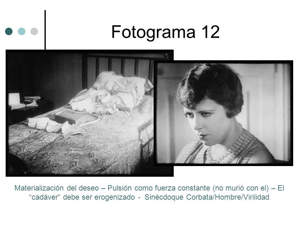 Fotograma 12 Materialización del deseo – Pulsión como fuerza constante (no murió con el) – El cadáver debe ser erogenizado - Sinécdoque Corbata/Hombre/Virilidad