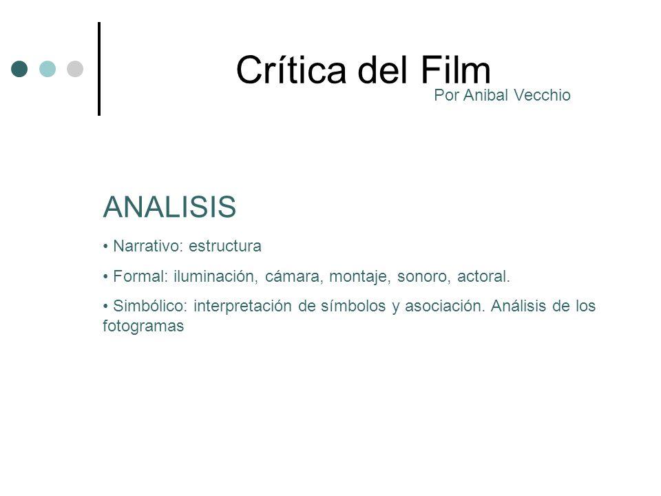 Crítica del Film Narrativo: estructura Formal: iluminación, cámara, montaje, sonoro, actoral.
