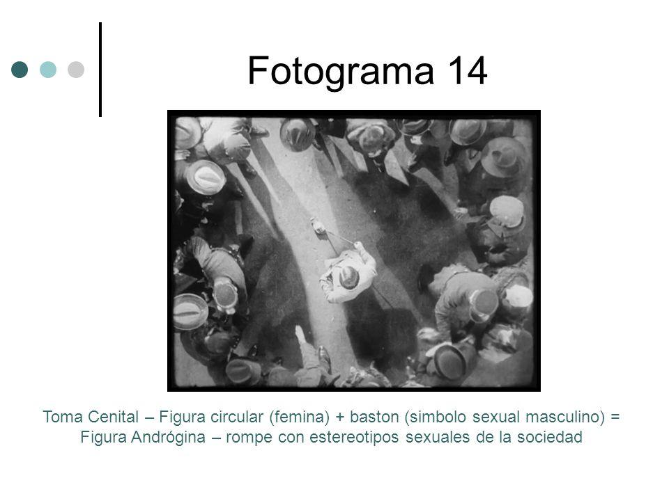Fotograma 14 Toma Cenital – Figura circular (femina) + baston (simbolo sexual masculino) = Figura Andrógina – rompe con estereotipos sexuales de la sociedad