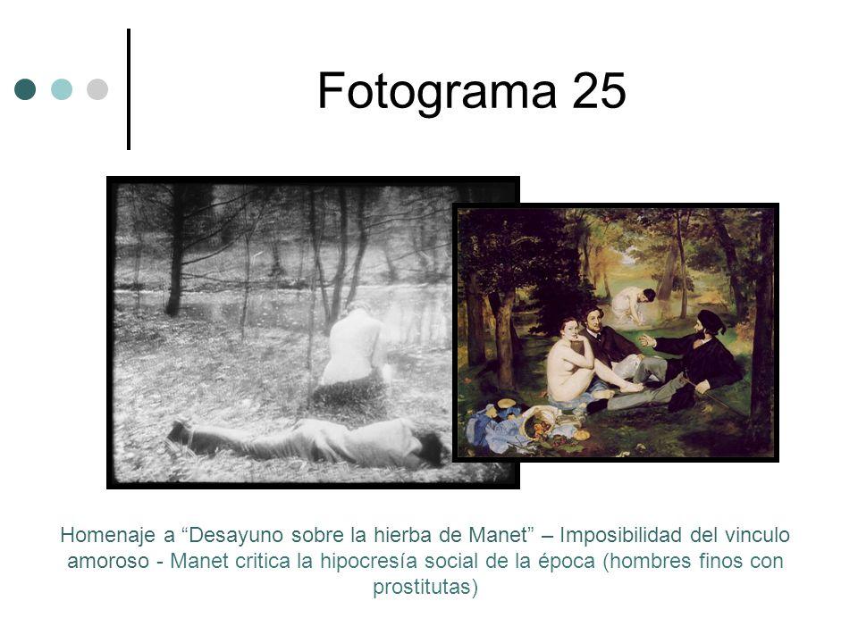 Fotograma 25 Homenaje a Desayuno sobre la hierba de Manet – Imposibilidad del vinculo amoroso - Manet critica la hipocresía social de la época (hombres finos con prostitutas)