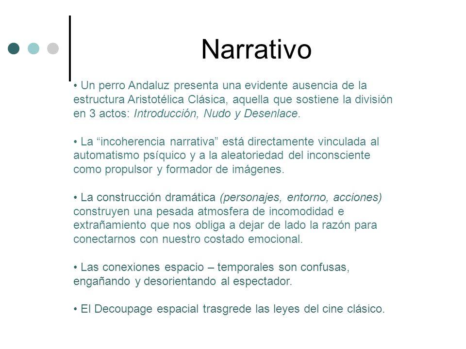 Narrativo Un perro Andaluz presenta una evidente ausencia de la estructura Aristotélica Clásica, aquella que sostiene la división en 3 actos: Introducción, Nudo y Desenlace.