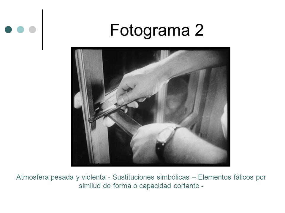 Fotograma 2 Atmosfera pesada y violenta - Sustituciones simbólicas – Elementos fálicos por similud de forma o capacidad cortante -