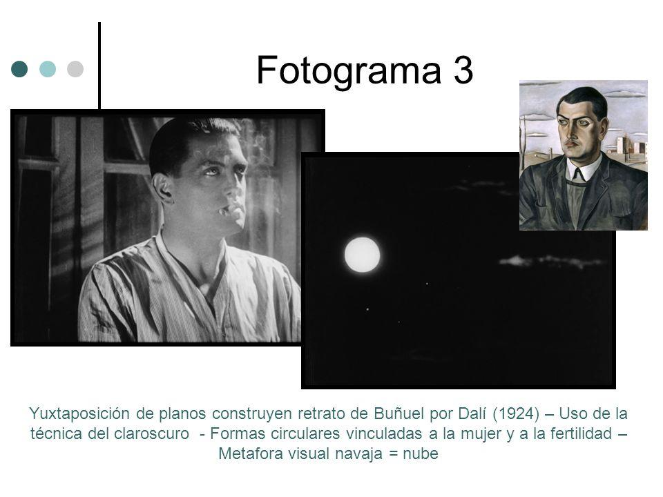 Fotograma 3 Yuxtaposición de planos construyen retrato de Buñuel por Dalí (1924) – Uso de la técnica del claroscuro - Formas circulares vinculadas a la mujer y a la fertilidad – Metafora visual navaja = nube