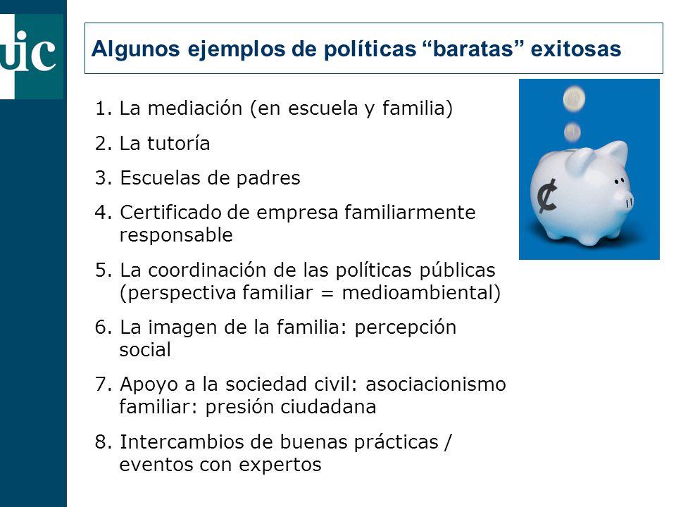 Algunos ejemplos de políticas baratas exitosas 1.La mediación (en escuela y familia) 2.La tutoría 3.