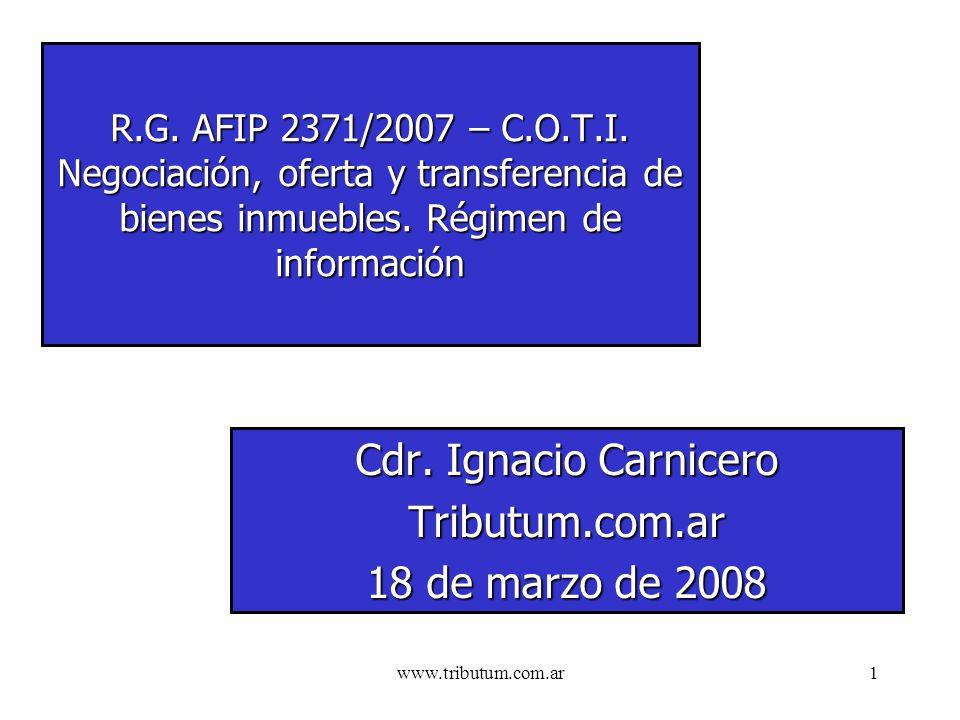 www.tributum.com.ar1 R.G. AFIP 2371/2007 – C.O.T.I.