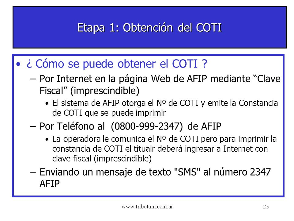 www.tributum.com.ar25 Etapa 1: Obtención del COTI ¿ Cómo se puede obtener el COTI .