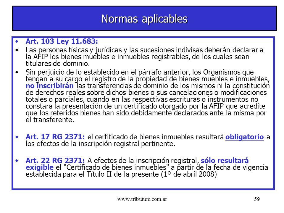 www.tributum.com.ar59 Normas aplicables Art.
