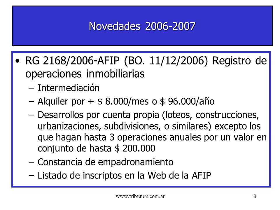 www.tributum.com.ar8 Novedades 2006-2007 RG 2168/2006-AFIP (BO.