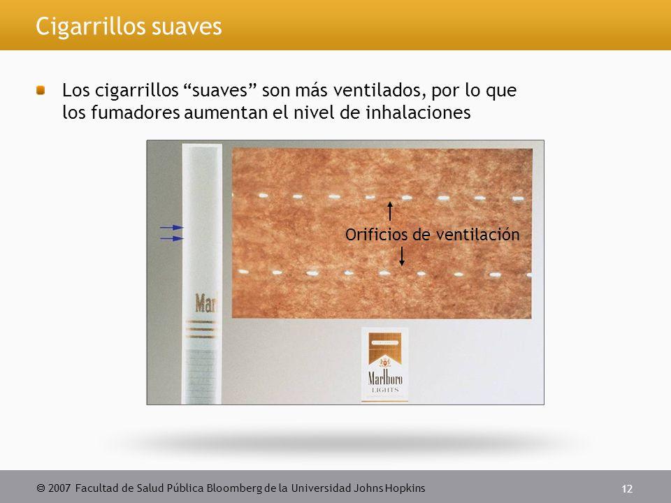  2007 Facultad de Salud Pública Bloomberg de la Universidad Johns Hopkins 12 Cigarrillos suaves Los cigarrillos suaves son más ventilados, por lo que los fumadores aumentan el nivel de inhalaciones Orificios de ventilación