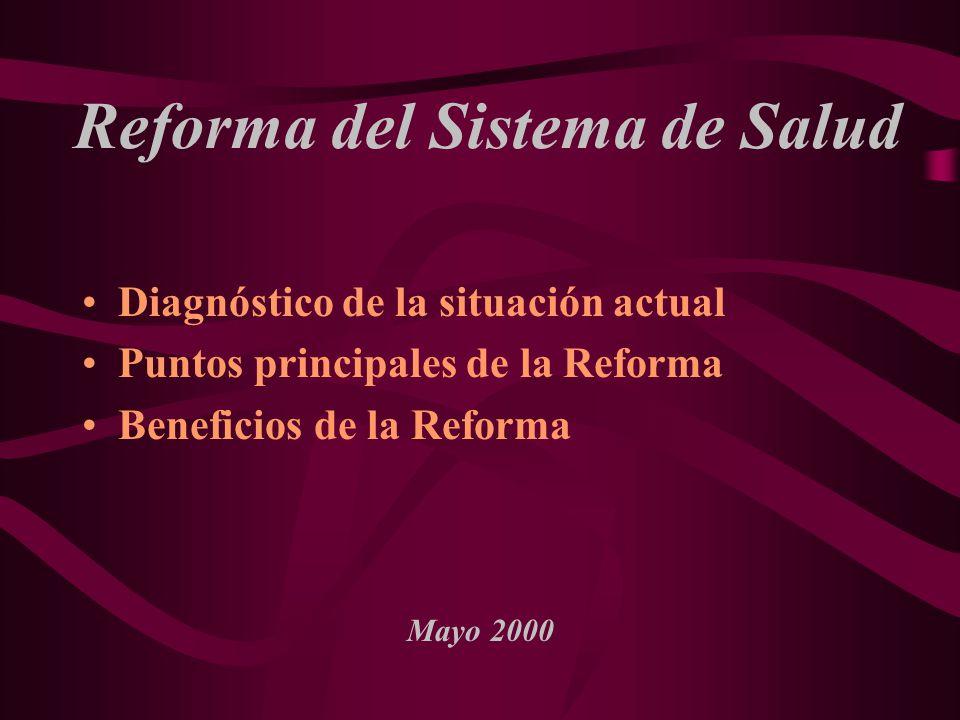 Reforma del Sistema de Salud Diagnóstico de la situación actual Puntos principales de la Reforma Beneficios de la Reforma Mayo 2000