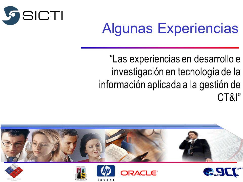 Algunas Experiencias Las experiencias en desarrollo e investigación en tecnología de la información aplicada a la gestión de CT&I