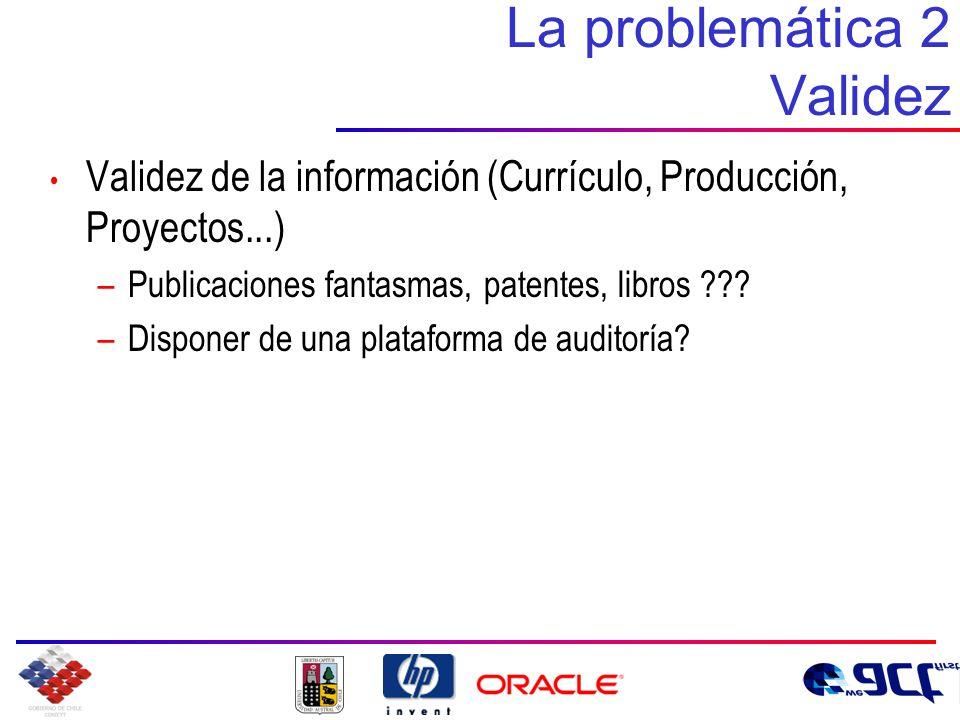 La problemática 2 Validez Validez de la información (Currículo, Producción, Proyectos...) –Publicaciones fantasmas, patentes, libros .