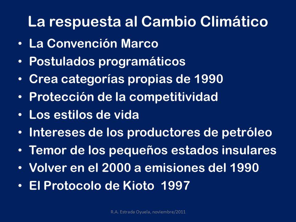 La respuesta al Cambio Climático La Convención Marco Postulados programáticos Crea categorías propias de 1990 Protección de la competitividad Los estilos de vida Intereses de los productores de petróleo Temor de los pequeños estados insulares Volver en el 2000 a emisiones del 1990 El Protocolo de Kioto 1997 R.A.