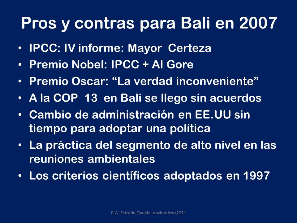 Pros y contras para Bali en 2007 IPCC: IV informe: Mayor Certeza Premio Nobel: IPCC + Al Gore Premio Oscar: La verdad inconveniente A la COP 13 en Bali se llego sin acuerdos Cambio de administración en EE.UU sin tiempo para adoptar una política La práctica del segmento de alto nivel en las reuniones ambientales Los criterios científicos adoptados en 1997 R.A.