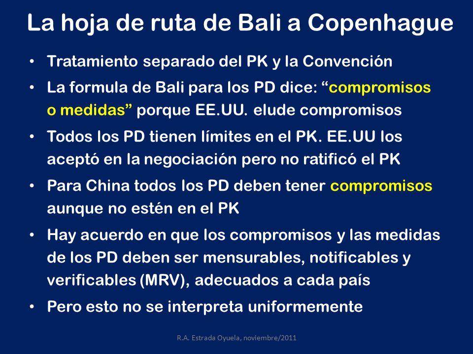 La hoja de ruta de Bali a Copenhague Tratamiento separado del PK y la Convención La formula de Bali para los PD dice: compromisos o medidas porque EE.UU.