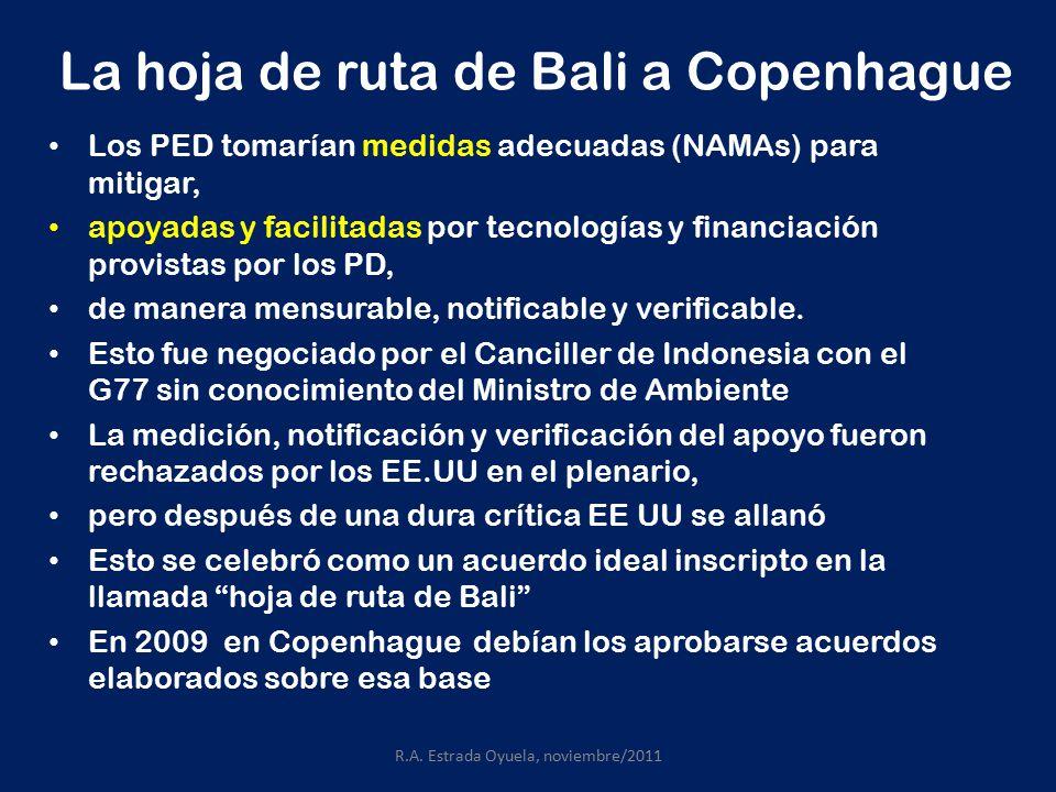 La hoja de ruta de Bali a Copenhague Los PED tomarían medidas adecuadas (NAMAs) para mitigar, apoyadas y facilitadas por tecnologías y financiación provistas por los PD, de manera mensurable, notificable y verificable.