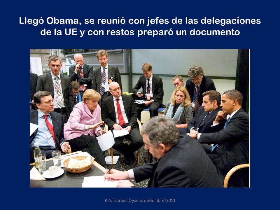 Llegó Obama, se reunió con jefes de las delegaciones de la UE y con restos preparó un documento R.A.